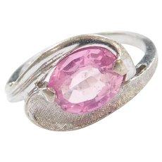 Vintage 10k White Gold Pink Sapphire Ring