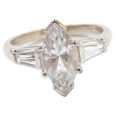 Art Deco Inspired 10k White Gold Faux Diamond Engagement Ring