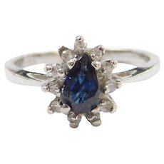 Vintage 10k White Gold Sapphire and Diamond Ring