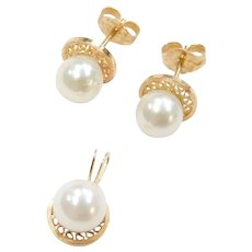14k Gold Cultured Pearl Stud Earrings and Pendant Set