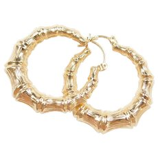 Vintage 14k Gold Bamboo Hoop Earrings
