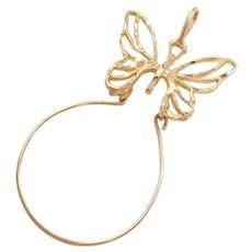Vintage 14k Gold Butterfly Charm Holder Pendant