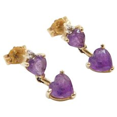 Vintage 14k Gold Amethyst Heart and Diamond Drop Earrings