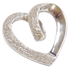 Vintage 14k White Gold Heart Pendant