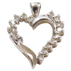 Vintage 10k White Gold Diamond Heart Pendant