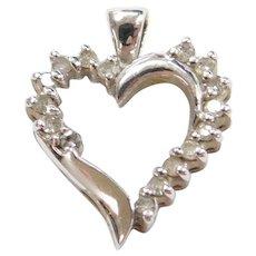 Vintage 10k White Gold Diamond Heart Pendant