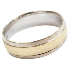 Vintage 10k Gold Two-Tone Wedding Band Ring
