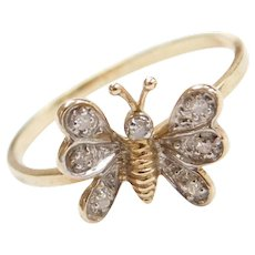 Vintage 10k Gold Diamond Butterfly Ring
