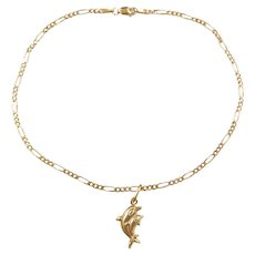 """Vintage 14k Gold Figaro Link Anklet with Dolphin Charm ~ 10 1/4"""""""