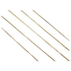 "Vintage 10k Gold Thin Box Chain ~ 18"" ~ 1.0 Grams"