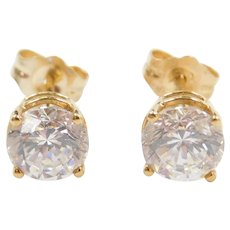 Vintage 18k Gold 1.80 ctw Faux Diamond Stud Earrings