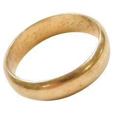 Edwardian 18k Gold Wedding Band Ring ~ Personally Engraved