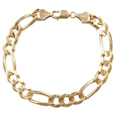 Men's 14k Gold Heavy Figaro Link Bracelet ~ 9""