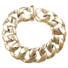 14k Gold WIDE Curb Link Bracelet ~ 6 3/4""