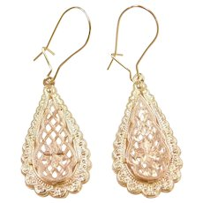 14k Gold Two-Tone Filigree Earrings ~ Yellow and Rose Gold