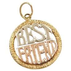 Tri-Color 14k Gold Best Friends Charm