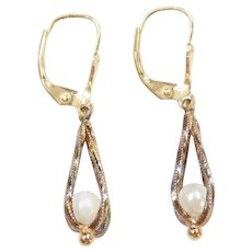 14k Gold Cultured Pearl Earrings ~ Lever Backs