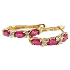 14k Gold Created Ruby and Diamond Hoop Earrings ~ Two-Tone