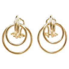 14k Gold Circle Earrings with Omega Backs