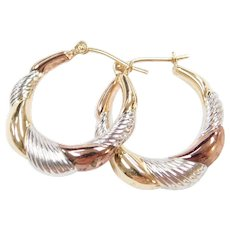 14k Gold Tri-Color Puff Hoop Earrings