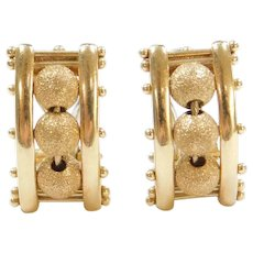 14k Gold Sparkling Bead Earrings ~ Omega Backs