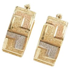 14k Gold Tri-Color Greek Key Hoop Earrings