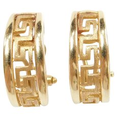 14k Gold Greek Key Hoop Earrings with Omega Backs