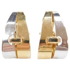 14k Gold Two-Tone Earrings