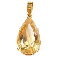 14k Gold 13.90 Carat Citrine Teardrop Pendant