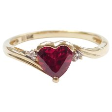 Created Ruby Heart and Diamond 1.01 ctw Ring 10k Gold