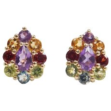 Colorful Gemstone Amethyst, Citrine, Garnet, Peridot, Peridot and Blue Topaz 1.12 ctw Stud Earrings 10k Gold