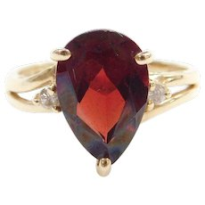 14k Gold 1.21 ctw Garnet and Diamond Ring