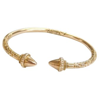 "Trinidad 9k Gold Cocoa Pod Calypso Handmade Bangle Bracelet ~ 7 3/4"""