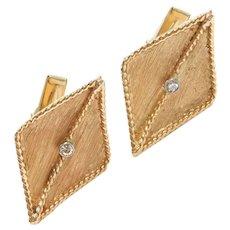 Vintage Gents Diamond .09 ctw Kite Shape Cufflinks 14k Gold ~ Men's