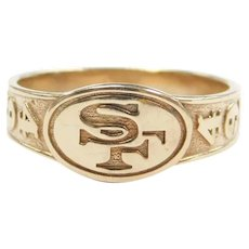 San Francisco 49ers Football Team Sports Ring 10K Gold