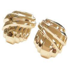 BIG 14k Gold Stud Earrings with Omega Backs