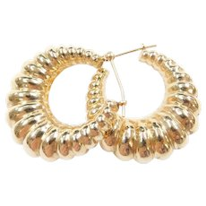 14k Gold Big Puff Hoop Earrings