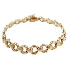 14k Gold Textured and High Polished Link Bracelet ~ 7""