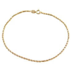 14k Gold Thin Diamond Cut Rope Bracelet ~ 7""