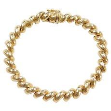 """14k Gold Diamond Cut San Marco / Macaroni Link Bracelet ~ 7 1/4"""""""