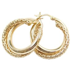14k Gold Mesh and Polished Hoop Earrings
