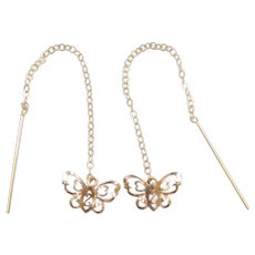 14k Gold Butterfly Threader Earrings