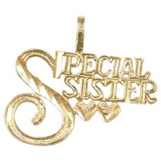 14k Gold Special Sister Charm / Pendant ~ Heart Accents