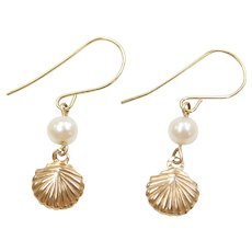 14k Gold Cultured Pearl Nautical Shell Earrings