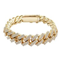 """Amazing Diamond 7.75 ctw Pave Solid Curb / Miami Cuban Link Bracelet 10k Gold 8 1/4"""" Length, 130.5 Grams ~ Men's"""