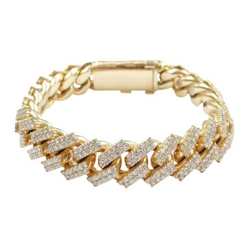 "Amazing Diamond 7.75 ctw Pave Solid Curb / Miami Cuban Link Bracelet 10k Gold 8 1/4"" Length, 130.5 Grams ~ Men's"
