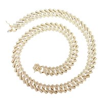 """Impressive Diamond 10.32 ctw Solid Curb Link Chain / Necklace 22"""" Length, 139.1 Grams"""