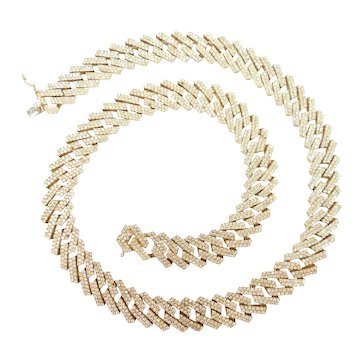 "Impressive Diamond 10.32 ctw Solid Curb Link Chain / Necklace 22"" Length, 139.1 Grams"