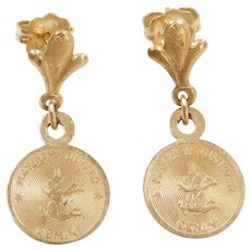 14k Gold Gemini Zodiac Earrings