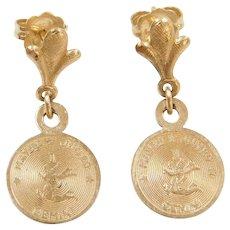 14k Gold Gemini Zodiac Earrings